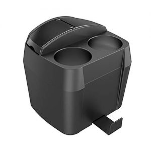 Yolu Car Trash Can, 2 in 1 Car Cup Holder Car Trash Bins Multi-Function Auto Garbage Can Automotive Waste Storage Drink Holder for Car Office Bathroom - Black