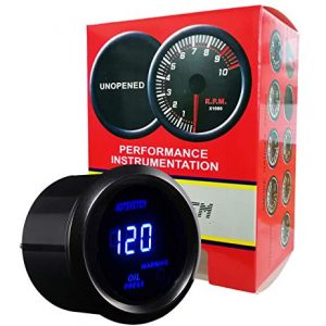HOTSYSTEM Electronic Universal OIL Pressure Press Gauge Meter 52mm 0-120 PSI for Car Vehicle Automotive (oil pressure gauge, black)