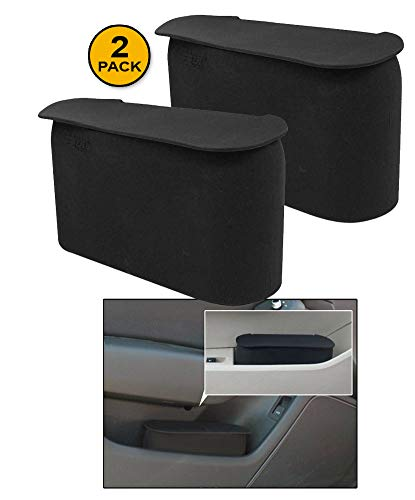 JAVOedge (2 Pack Black Small Car Trash Can with Lid, Flexible Material, Fits in Most Side Doors