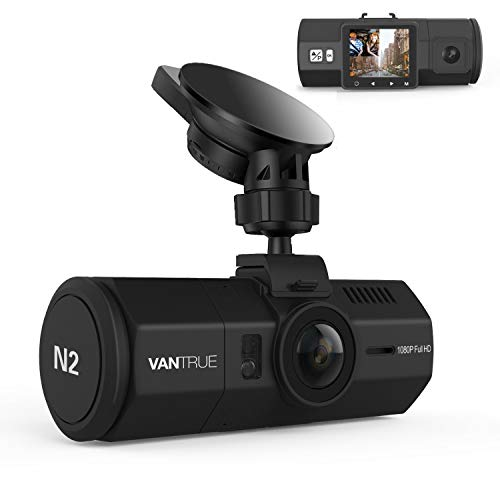 "Vantrue N2 Uber Dual Dash Cam-1080P Inside and Outside Dash Camera for Cars 1.5"" Near 360° Wide Angle Lyft Dashboard Cam w/ Parking Mode, Motion Detection, Front Camera Night Vision Effects"