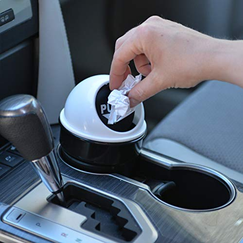 Cup Holder Trash Can   Unique Car Small Garbage Can with Spring Hinge Flap   Automobile Garbage Bin with Lid for All Vehicles   Van, SUV, Truck, Buses   Lid Color - Silver