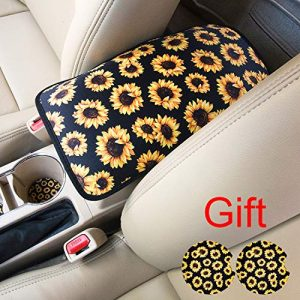 Evankin Auto Center Console Cover,Universal Fit Soft Comfort Center Console Armrest Cushion for Car,Neoprene Sunflower Stylish Pattern Design Car Armrest Cover(Sunflower)