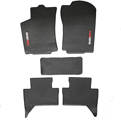 ITAILORMAKER Heavy Duty Latex Floor Mats Liner for Toyota Tacoma Double Cab TRD Pro 2016-2019, All Weather Guard Custom Rubber Mats Protection
