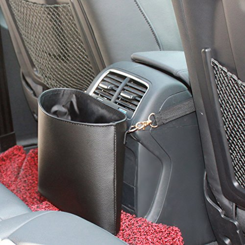 Timorn Car Trash Can,Car Garbage Can PU Leather, Auto Trash Can for Travelling, Outdoor, and Vehicle(Black)