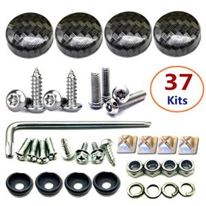 License Plate Screw Caps ABS Carbon Fiber Pattern And Stainless Steel Anti Theft Screws for Matching Carbon Fiber License Plate Frame 37 Sets