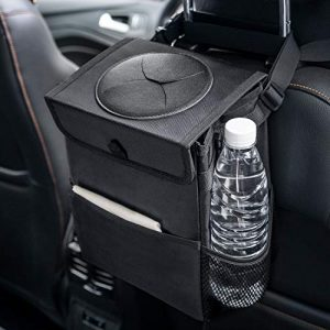 Wishpower Car Trash Cans with Lid and Storage Organizer Pocket, Portable Car Garbage Bin Leakproof Liners Car Garbage Cans (Black,2.4gallons)