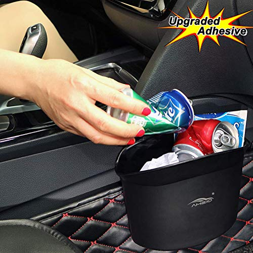 AMEIQ Car Trash Can, Plastic Garbage Bin, Absolutely Best Waste Rubbish Litter Container for Vehicle Office Study Room (Upgraded Adhesive)