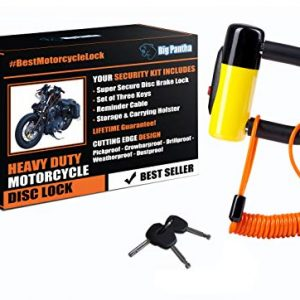 Heavy Duty Anti Theft Motorcycle Disc Lock That Stops Thieves Dead In Their Tracks! Fits all Bikes and most Mopeds & Scooters. From BigPantha (Yellow)