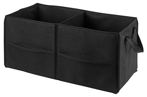 """Fold Away Car Trunk Organizer, Black - 22"""" x 10"""" x 11"""" - Non-slip Fastener secures to your trunk and prevents sliding. Prevent items like auto supplies from rolling around or shifting in your trunk."""