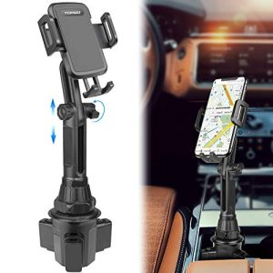 Car-Cup-Holder-Phone-Mount Adjustable Long Pole Automobile Cup Holder Smart Phone Cradle Car Mount for iPhone 11 Pro/XR/XS Max/X/8/7 Plus/6s/Samsung S10 /Note 9/S8 Plus/S7 Edge