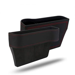 GCARTOUR Car Seat Pockets Leather Car Console Side Organizer Seat Gap Filler Catch Caddy with Non-Slip (Black for Right Seat, 10.2''x 6.3''x7.8'')