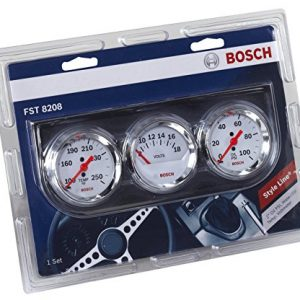 "Bosch SP0F000046 Style Line 2"" Triple Gauge Kit (White Dial Face, Chrome Bezel)"