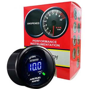 HOTSYSTEM Universal Electronic Air/Fuel Ratio Monitor Meter Gauge Blue Digital LED 2inches 52mm for Car Vehicle Automotive