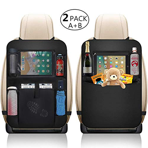 XBRN Car Organizer Back Seat,Car Back Seat Protector,Waterproof Kick Mat,Clear Touch Screen Tablet Holder for Kid/Travel with Multi Pocket,Car Seat Organizer,Car Storage Organizer with 2 Pack(Black)