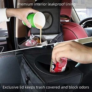 Caferria Car Trash Can Garbage Bag with Lid and Storage Pockets Hanging Car Garbage Bag Collapsible Portable Leak-Proof Vinyl Inside Lining
