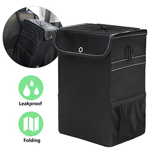 W J Zone Car Trash Can-Waterproof Car Trash Can Bag with Lid and Storage Pockets Portable Car Accessories Organizer for Women,with Leak-Proof Vinyl Inside Lining
