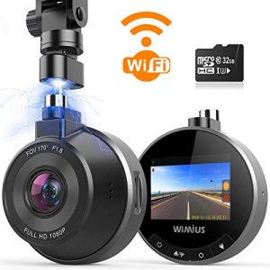 Dash Cam WiFi, WIMIUS 1080p Dash Camera for Cars, Magnetic Car Camera Recorder with Loop Recording, G-Senor, WDR Night Vision, Motion Detection, Parking Monitor, 32G SD Card Included