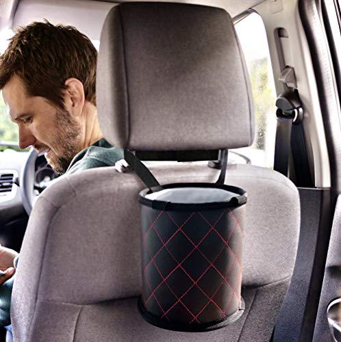 Fauchers 7'' X 7'' Small Size car Trash can Includes car Garbage can Bags - Center Console car Trash Container - Auto Trash Container for headrest - Luxury Style car Trash bin fits All Vehicles.