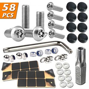 Anti Theft License Plate Screws - Stainless Steel Tamper Resistant License Plate Security Screws License Plate Frame Bolts Fasteners, Black Screw Caps for Car License Plates, Frames and Covers