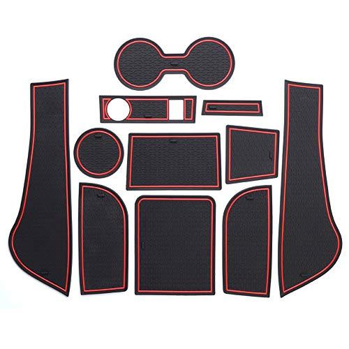ontto Cup Mat Gate Slot Pad Car Non-Slip Interior Door Mat for 2013-2017 VW Volkswagen Jetta F Left/Right-Hand Drive 11pcs/Set Red