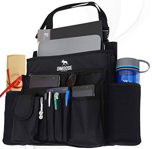 DMoose Car Front Seat Organizer with Laptop and Tablet Storage, Compact Passenger Side Caddy with Neoprene Water Bottle Pockets, File Folder Sleeves, and Space Saving Compartments