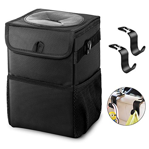Car Trash Can - Garbage Bag with Lid Waterproof Leakproof No Smell Foldable 2 Gals Portable Rubbish Litter Bin with Storage Pockets Headrest Hook for Console/Headrest/Car Door/Glove Box