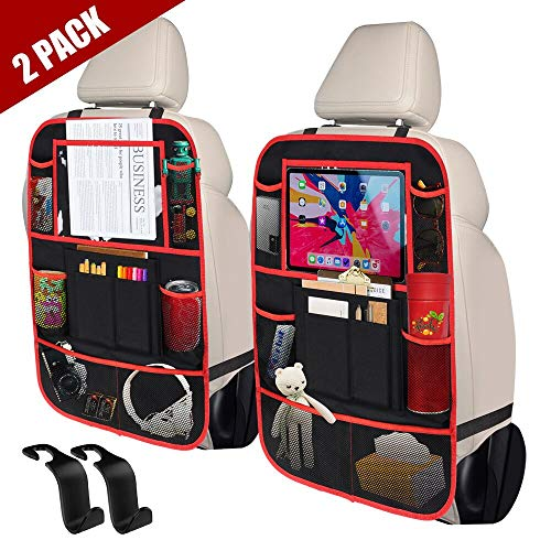 """STELLAIRE CHERN Car Back Seat Organizer Kick Mats with 10"""" Touch Screen Tablet Holder, 9 Storage Pockets Seat Back Protectors for Kids Toy Bottle Book Drink Toddlers Travel Accessories, 2 Pack"""