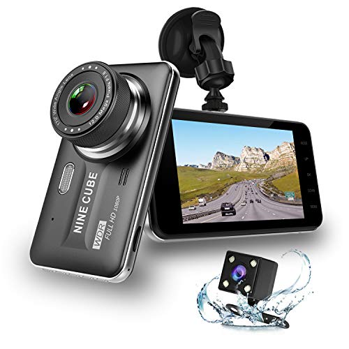 "Dual Dash Cam Front and Rear, NINE CUBE 1080p HD Dashboard Recorder,Car Dash Camera 4"" IPS Screen, 170° Super Wide Angle, G Sensor, Loop Recording, Parking Monitor, Motion Detection"