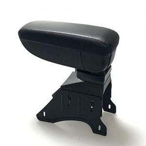 Black PU Leather Front Center Console Armrest Storage Box Universal Fit with Adjustable Bracket