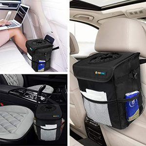 SUN CUBE Car Trash Can with Lid and Removable Leakproof Lining   Waterproof Hanging Trash Bin with Storage Pockets for Headrest, Console, Back Seat   Portable Car Organizer Garbage Can (Black)