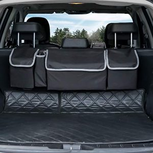 Trunk Organizer Car Storage, Seat Back Storage to Keep Car Trunk Neat, Car Trunk Storage Organizer for SUV Gives You a Big Space Back Seat Trunk, Car Cargo Organizer Frees up Your Trunk Floor.