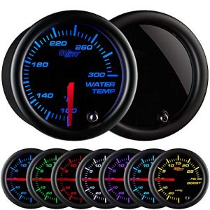 GlowShift Tinted 7 Color 300 F Water Coolant Temperature Gauge Kit - Includes Electronic Sensor - Black Dial - Smoked Lens - For Car & Truck - 2-1/16""