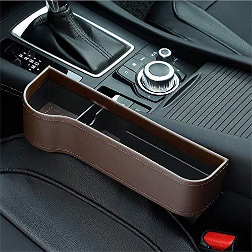 washidai Car Seat Pockets PU Leather Car Console Side Organizer Seat Gap Filler Catch Caddy Brown(1 Pack)
