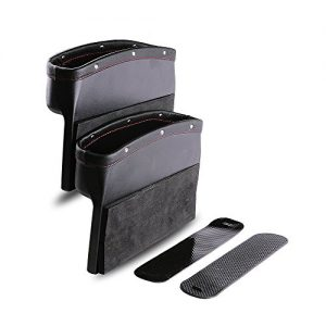 Car Seat Pockets PU Leather Car Console Side Organizer Seat Gap Filler Catch Caddy with Non-Slip Mat 9.2x6.5x2.1 inch Black(2 Pack) Powertiger