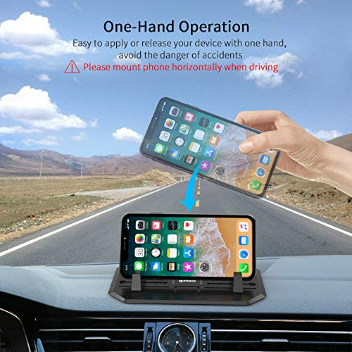 IPOW Anti-Slip Silicone Car Phone Dashboard Pad Mat,Hands-free Cell Phone Holder For Car/Home/Office Compatible With iPhone 7 7P 6s 6 X XS 8 8P 5S,Galaxy S8 S7 S6 S5, Google Nexus