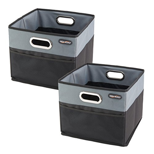 High Road CargoCube Trunk and Car Organizer Bins with Leakproof Lining - Set of 2 (Black)
