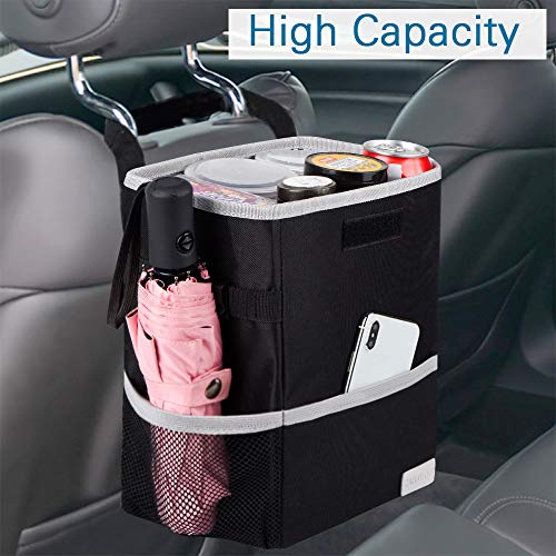 CAHTUOO Car Trash Can with Lid, Portable Car Garbage Bag Can Hanging for Headrest with 3 Storage Organizer Pockets-100% Leak-Proof Vinyl Inner Lining