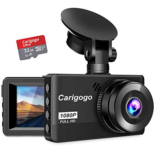"Dash Cam with SD Card(32G) Carigogo 1080P Full HD Dash Camera for Cars Recorder 3.2"" Screen 170°Wide Angle, Night Vision, G-Sensor, WDR, Parking Monitor, Loop Recording, Motion Detection"