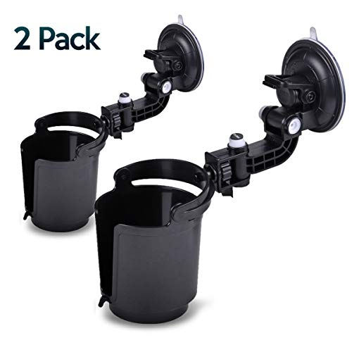 Zone Tech Recessed Folding Cup Drink Holder - 2-Pack Black Premium Quality Recessed Sturdy Black Folding Vehicle Adjustable Drink Cup Holder