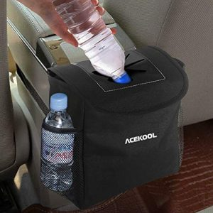 Acekool Car Trash Can with Lid and Storage Pockets,100% Leak Proof Car Trash Container Car Garbage Bag Hanging for Headrest/Gearshift/Center Console