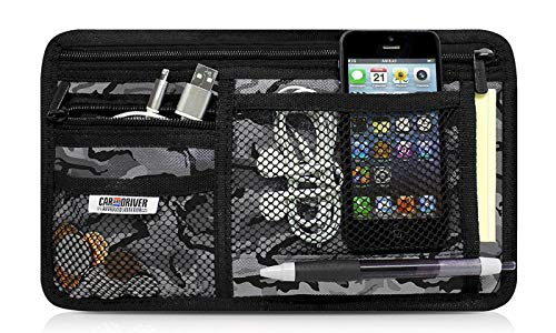 Car and Driver Sun Visor Organizer - 6 Compartment - Easy Installation and Universal Fit - Stores Phones, Pens, Passes, Change, Coins, More