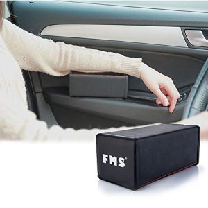 FMS Soft Car Armrest Console Cushion for Relaxation PU Leather Memory Foam Car Seat Armrest (Black)