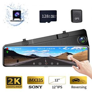 """Karsuite M9 12"""" Mirror Dash Cam 2560x1440P Backup Camera with GPS Touch Screen Front and Rear View Dual Lens Full HD WDR Night Vision, G-Sensor (Free 128GB SD Card Included) for Cars/Trucks"""