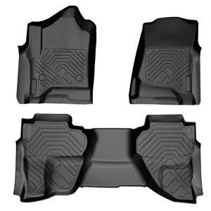 COOLSHARK Chevy Silverado Floor MATS, Custom Fit Floor Liners for 2014-2018 Silverado or GMC Sierra 1500, 2015-2019 Silverado or GMC Sierra 2500HD/3500HD,Double Cab Only