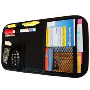 Fancy Mobility Car Sun Visor Organizer - Auto Accessories Document Holder - Car, Truck, SUV Registration & Insurance Storage Pouch - Road Trip Essential Gift for Any Driver - Comes With a Unique eBook