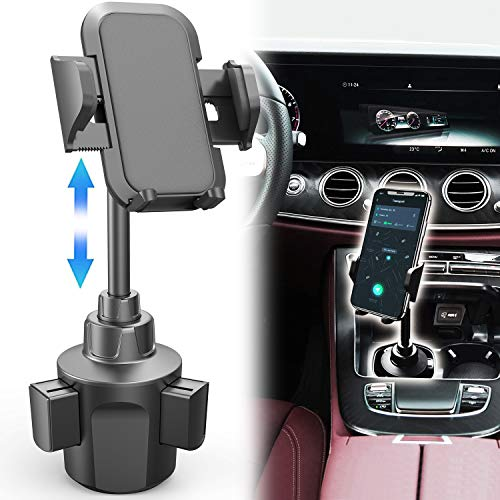 Phone Holder for Car, Adjustable Automobile Cup Holder Phone Mount for iPhone Xs XS Max XR X 8 8+ 7 7 Plus 6s Plus 6s SE Samsung Galaxy S10 S10E S9 S9+ S8 S7 Edge S6 Note 5, Xperia, iPod, Smartphone