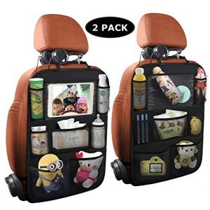 ONE PIX Car Backseat Organizer with Touch Screen Tablet Holder + 7 Storage Pockets, Kick Mats Seat Back Protectors for Kids and Toddlers Premium Vehicle Travel Accessories (2 Pack)