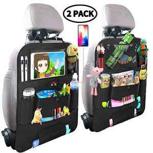 """Car Backseat Organizer for Kids,Car Organizer Kick Mats Seat Back Protectors with Clear 10"""" Tablet Holder + 4 USB Charging Port Multi-use Storage Pockets for Baby Vehicles Travel Accessories(2 Pack)"""