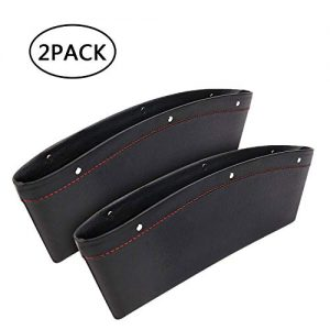 AMOYON Car Gap Filler, 2 Pack Premium Leather Seat Gap Pockets for Car Console Organizer Seat Side Storage Box Holding Phone Sunglasses Keys, Black
