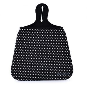 Case New Lightweight Neoprene Auto Trash Bag Sleeve Pouch/Litter Bag/Car Trash Keeper/Garbage Holder/Trash Liner Bag Case& Auto Organizer Storage Bag, Stick Shift Car Garbage Bin- White Dots